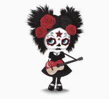 Sugar Skull Girl Playing Singapore Flag Guitar Kids Tee