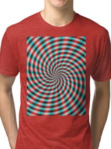 Turquoise and Red Spiral Rays Tri-blend T-Shirt