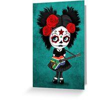 Sugar Skull Girl Playing South African Flag Guitar Greeting Card