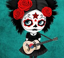 Sugar Skull Girl Playing South Korean Flag Guitar by Jeff Bartels