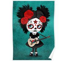Sugar Skull Girl Playing South Korean Flag Guitar Poster