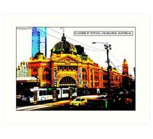 Flinders St Station Comicography Art Print