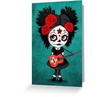 Sugar Skull Girl Playing Swiss Flag Guitar Greeting Card