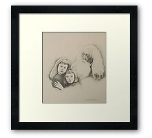 Old Man and Children Framed Print