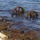 Old train wheels in water Strahan Tasmania by Tom McDonnell