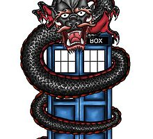 Japanese Dragon and a TARDIS by JezFez