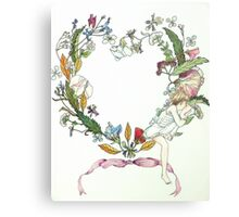 Flower Wreath and Child Metal Print