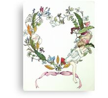 Flower Wreath and Child Canvas Print