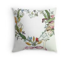 Flower Wreath and Child Throw Pillow
