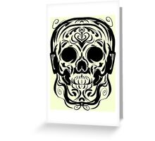 Calligraphic Skull with Headphones Greeting Card
