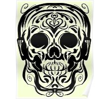 Calligraphic Skull with Headphones Poster