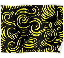 Barlup Abstract Expression Yellow Black Poster