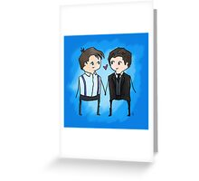 Jack And Ianto Chibis Greeting Card