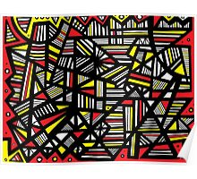 Ocasio Abstract Expression Yellow Black Poster