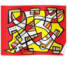 Huger Abstract Expression Yellow Red Poster