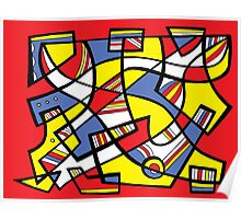 Reginaldo Abstract Expression Yellow Red Blue Poster