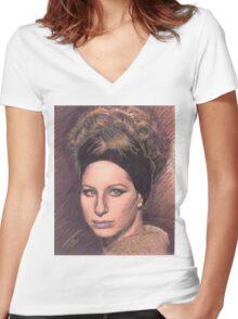 PORTRAIT OF BARBRA STREISAND Women's Fitted V-Neck T-Shirt