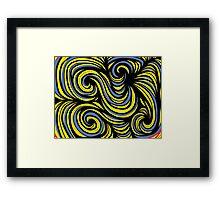 Zunino Abstract Expression Yellow Blue Black Framed Print