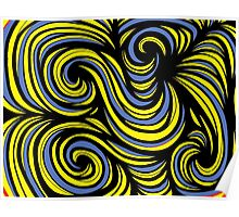 Zunino Abstract Expression Yellow Blue Black Poster