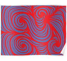 Aughe Abstract Expression Red Blue Poster