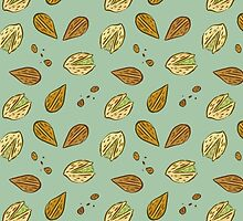 Nuts almonds and pistachios pattern by exeivier