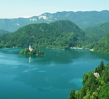 From on high - Lake Bled, Slovenia by chijude