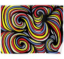Asmar Abstract Expression Yellow Red Blue Poster