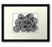 Bright Abstract Expression Black and White Framed Print