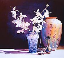"""Afterglow"" Art Glass Watercolor  by Paul Jackson"