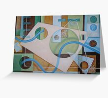 Abstract Green Brown Blue 2 with texture Greeting Card