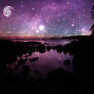 Binalong Bay Tasmania Sunrise with stars & moon by fantasytripp