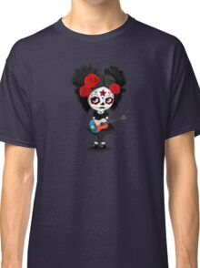 Sugar Skull Girl Playing Texas Flag Guitar Classic T-Shirt