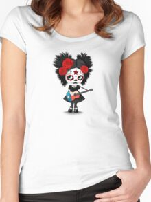 Sugar Skull Girl Playing Texas Flag Guitar Women's Fitted Scoop T-Shirt