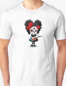Sugar Skull Girl Playing Texas Flag Guitar Unisex T-Shirt