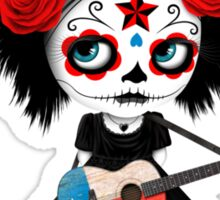 Sugar Skull Girl Playing Texas Flag Guitar Sticker