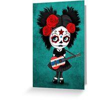 Sugar Skull Girl Playing Thai Flag Guitar Greeting Card