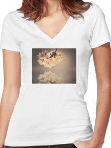 Vintage blossoms Women's Fitted V-Neck T-Shirt