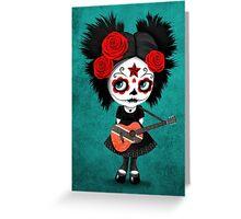 Sugar Skull Girl Playing Trinidadian Flag Guitar Greeting Card