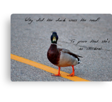 Why did the duck cross the road... Canvas Print