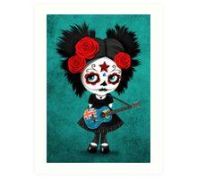 Sugar Skull Girl Playing Turks and Caicos Flag Guitar Art Print