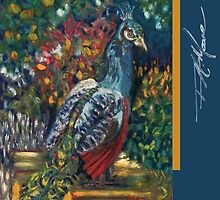 Peacock Garden. FA Moore Signature design, in Marine Blue by F.A. Moore