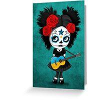 Sugar Skull Girl Playing Ukrainian Flag Guitar Greeting Card
