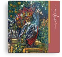 Peacock Garden. FA Moore Signature design, in Soft Red Metal Print