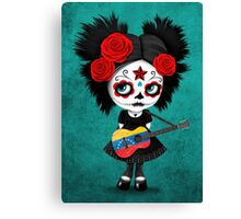 Sugar Skull Girl Playing Venezuelan Flag Guitar Canvas Print