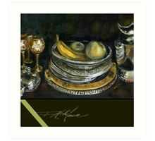 China Cabinet Still Life I. FA Moore Signature design, in Dark Olive Art Print