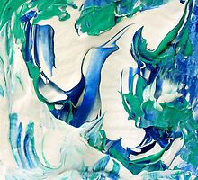 Blue Sky Design, Abstract Blue and White Artwork by ShiningEyeArts
