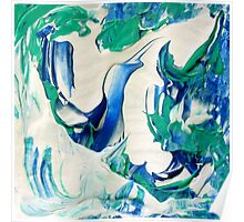 Blue Sky Design, Abstract Blue and White Artwork Poster
