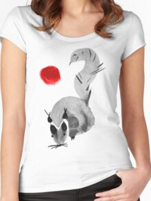 watercolor squirrel. Watercolor hand drawn brush vector  Women's Fitted Scoop T-Shirt