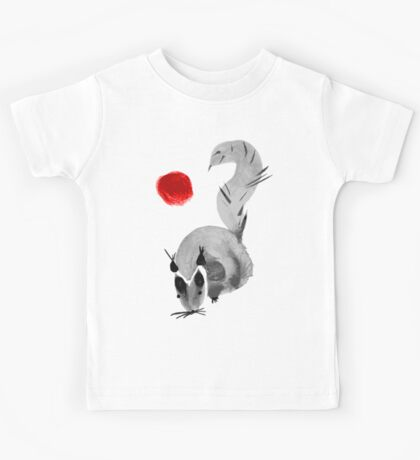watercolor squirrel. Watercolor hand drawn brush vector  Kids Tee