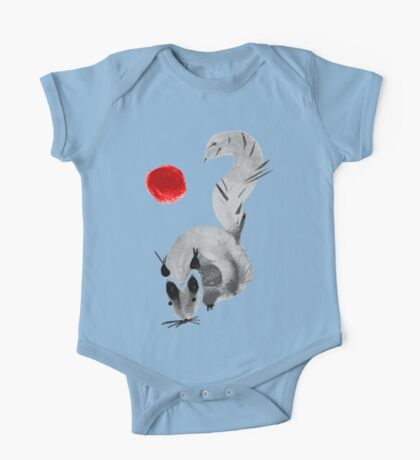 watercolor squirrel. Watercolor hand drawn brush vector  One Piece - Short Sleeve